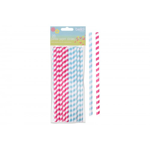 Bello JUMBO PAPER STRAWS 20 PACK  2 ASSORTED COLOURS