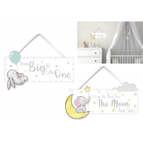Hugs & Kisses WOODEN BABY SIGN 25X9X0.6CM  TWO ASSORTED DESIGNS