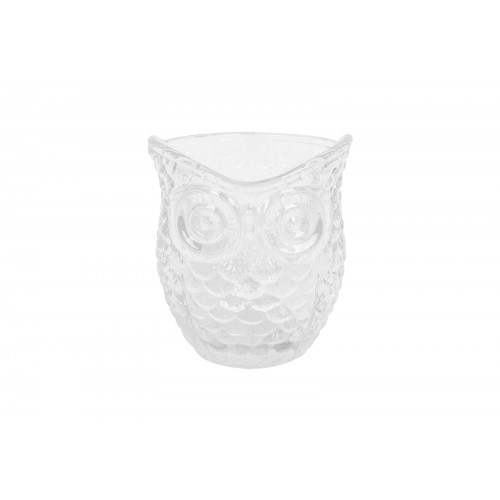 Bello CLEAR GLASS OWL DESIGN CANDLE HOLDER 9CM X 7CM