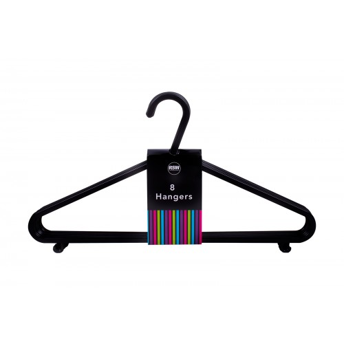 RSW BLACK CLOTHES HANGERS 8 PACK