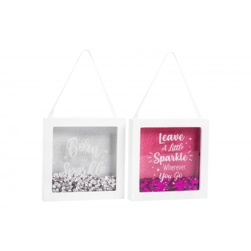 Hugs & Kisses GLITTER BOX FRAME WITH QUOTE TWO ASSORTED DESIGNS
