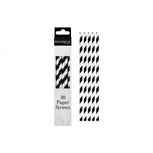 Modena PAPER STRAWS 30 PACK BLACK & WHITE STRIPE