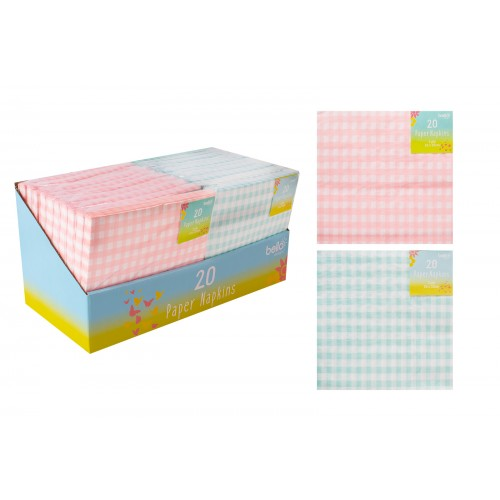 Bello PAPER NAPKINS 2 PLY 20 PACK 2 ASSORTED COLOURS